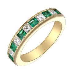 Stunning 18 Karat Yellow Gold, Diamond and Emerald Ring