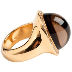 Stunning 18 Carat Yellow Gold Smokey Quartz and Diamond Cabochon Dress Ring