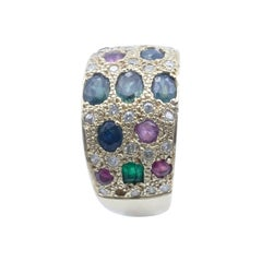 Stunning 18ct Yellow Gold Emerald, Sapphire & Ruby Wide Band Dress Ring