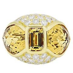 18 Karat Gold 5.00 Carat Citrine Diamond F-G/VVS-VS Diamond Statement Ring