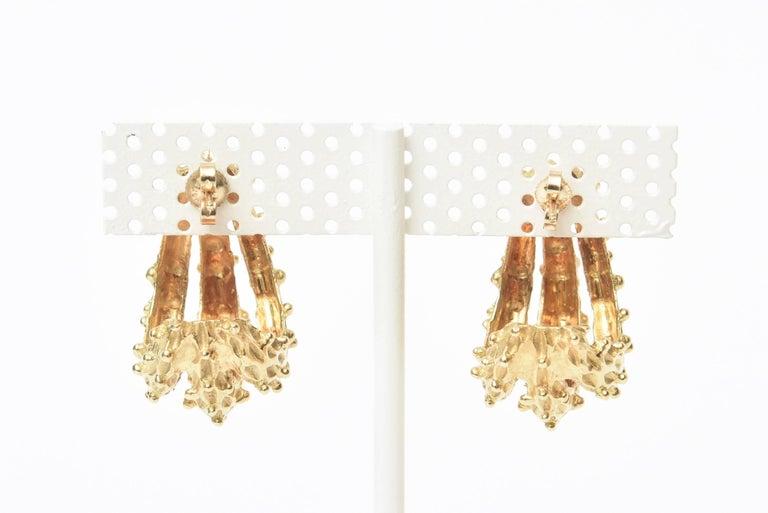 18 Karat Gold Italian Pierced Earrings Pair Of For Sale 5