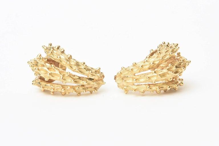 Modern 18 Karat Gold Italian Pierced Earrings Pair Of For Sale