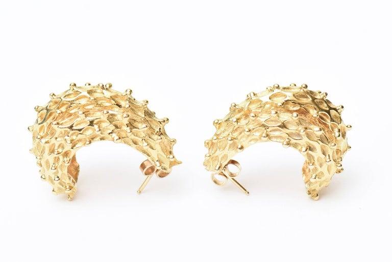 Women's 18 Karat Gold Italian Pierced Earrings Pair Of For Sale