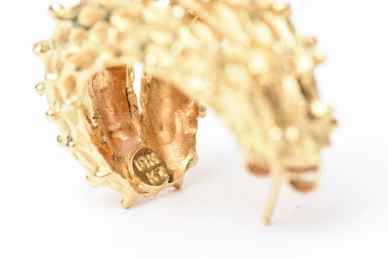 18 Karat Gold Italian Pierced Earrings Pair Of For Sale 1