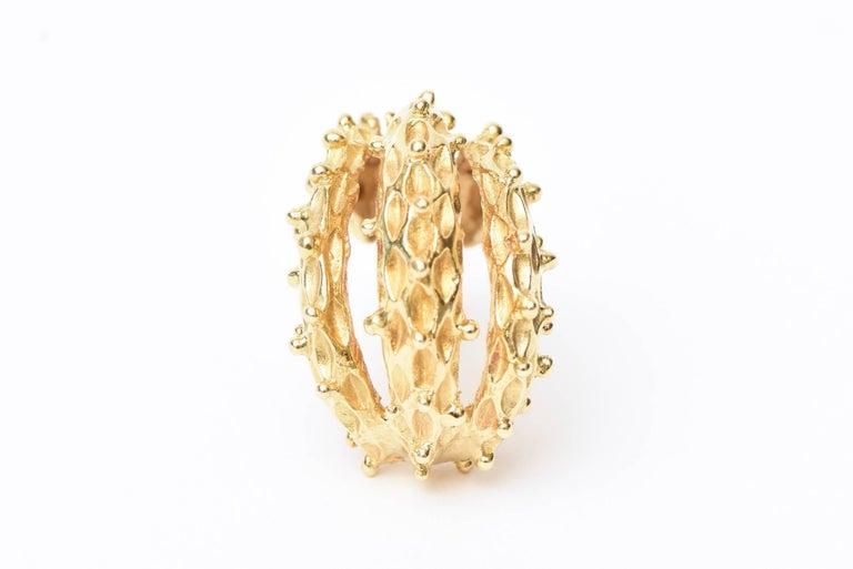 18 Karat Gold Italian Pierced Earrings Pair Of For Sale 3