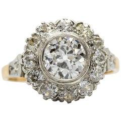 Antique Victorian 18 Karat Gold and Platinum Diamonds Ring