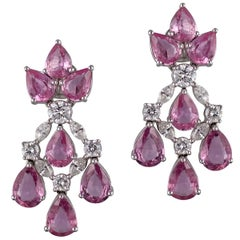 Stunning 18 Karat White Gold, Diamond and Pink Sapphire Earrings