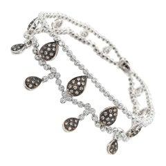 Stunning 18kt White Gold Charm Bracelet with 3ct White & 1.10ct Cognac Diamond