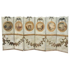 Stunning 18th Century French Provincial Oil on Canvas 6-Panel Screen