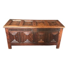 Stunning 18th Century Highly Carved Paneled French Coffer Chest