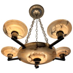 Stunning 1910s Vienna Secession Alabaster and Brass Six-Light Pendant Chandelier