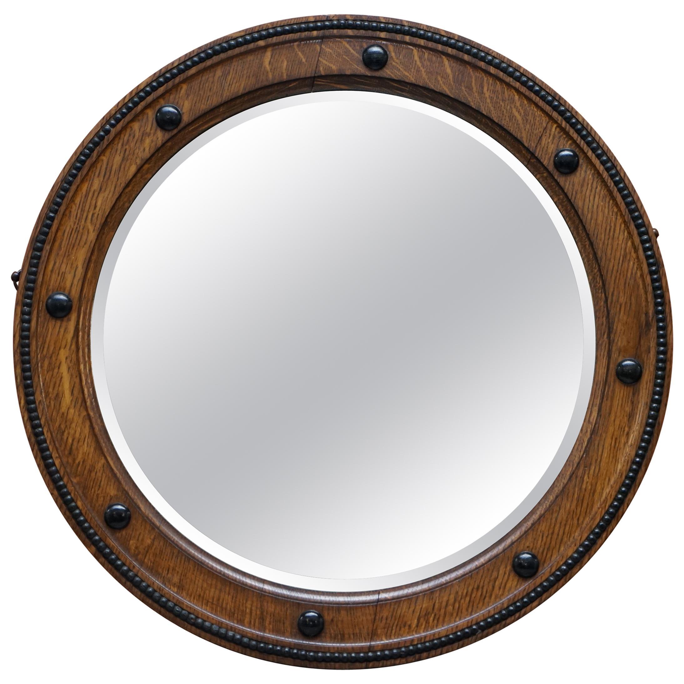 Stunning 1920, 1930s Art Deco Round Oak Framed Wall Mirror Stunning Patina