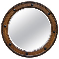 Stunning 1920, 1930s Art Deco Round Oak Framed Wall Mirror Stunning Patina