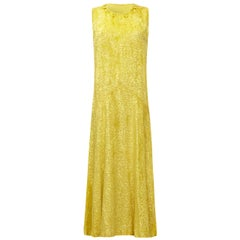 Stunning 1920s Yellow Panne Silk Burn Out Velvet Flapper Dress
