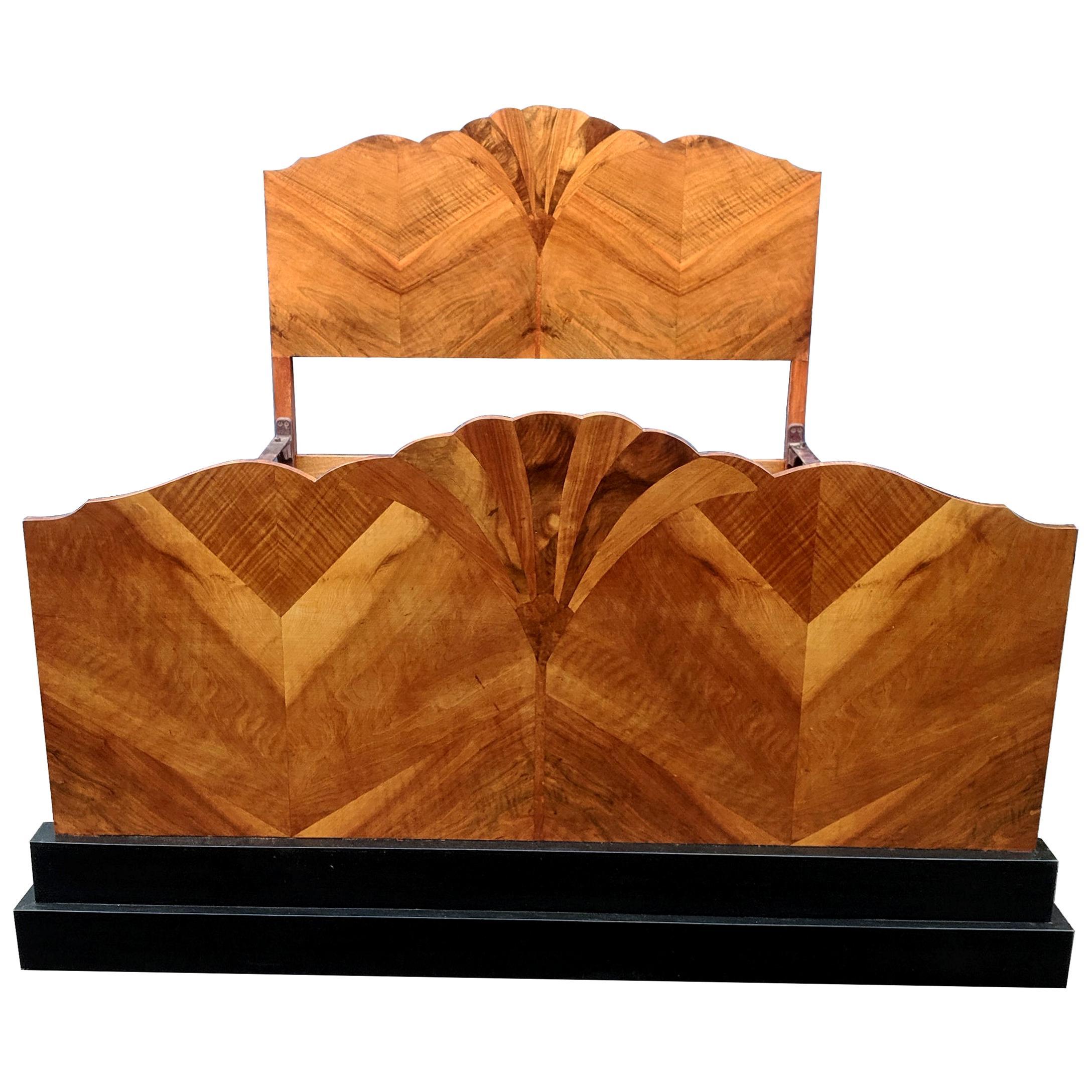 Stunning 1930s Art Deco Walnut Double Bed