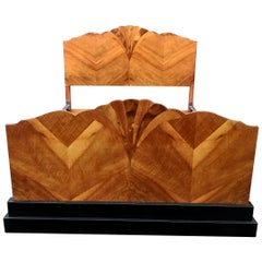 Stunning 1930s Art Deco Walnut Double Bed
