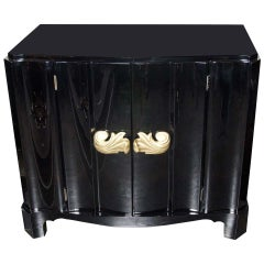 Stunning 1930s Dorothy Draper Black Lacquered Cabinet