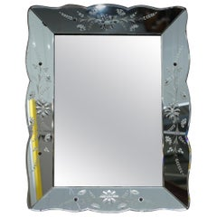Stunning 1930s French Art Deco Venetian Etched and Engraved Beveled Mirror