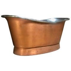 Stunning 1940s Copper and Nickel Slipper Bathtub, Modernist Design