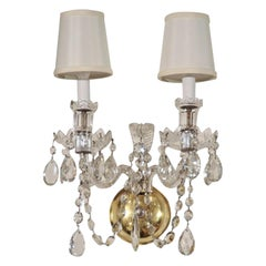 Stunning 1940's Hollywood Cut Crystal Sconce with Crystal Plume Detail