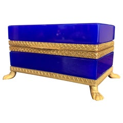 Stunning 1950s Cobalt Blue Murano Glass Hinged Jewellery Box by Cendese, Italy