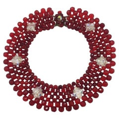 Stunning 1950S Red Vintage Crystal Collar
