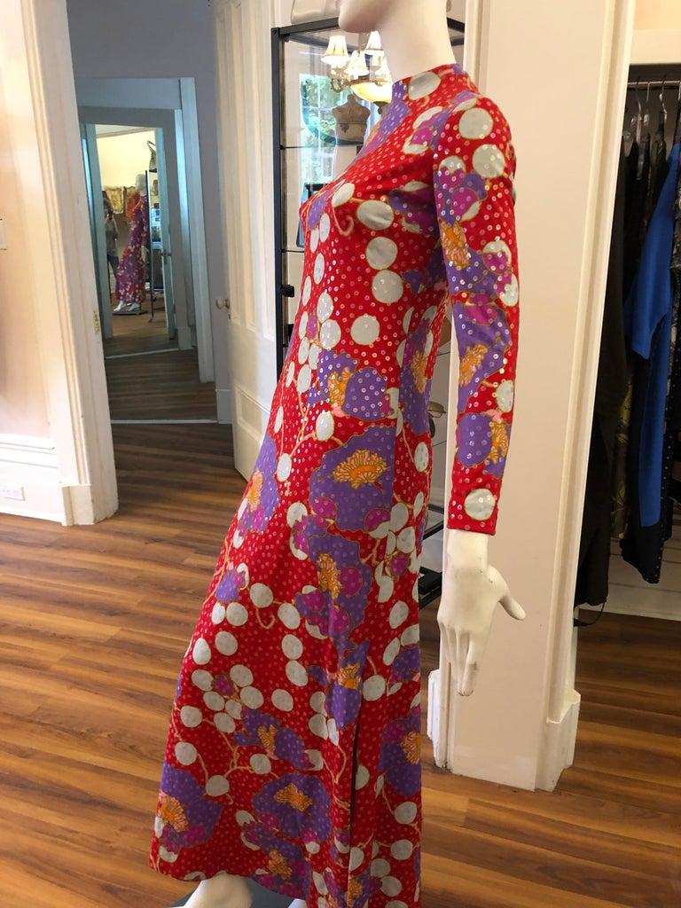 Brown Stunning 1960s Anne Fogarty Sequin Floral Design Long Dress  For Sale