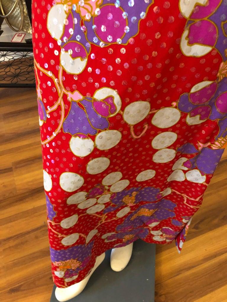 Women's Stunning 1960s Anne Fogarty Sequin Floral Design Long Dress  For Sale