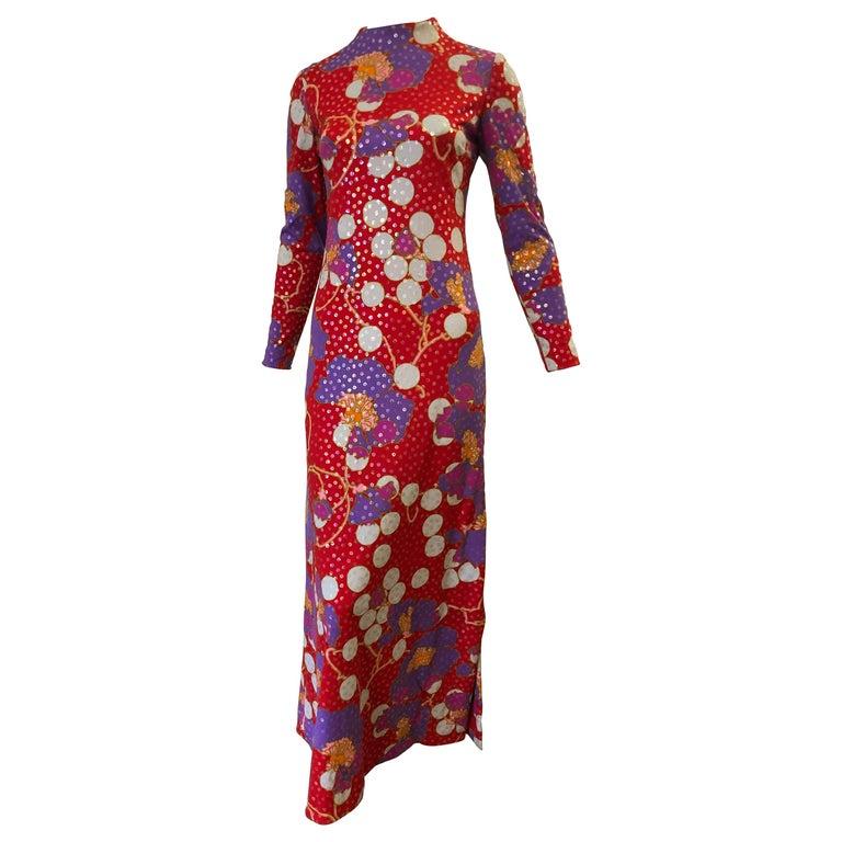Stunning 1960s Anne Fogarty Sequin Floral Design Long Dress  For Sale