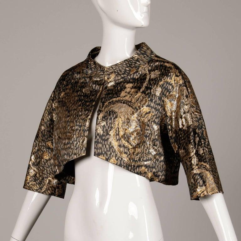 Stunning 1960s Helga Vintage Metallic Gold Silk Brocade