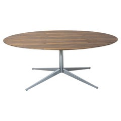 Stunning 1960s Rosewood Florence Knoll Table Desk, Oval Shape