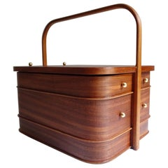 Stunning 1960s Vintage Danish Modern Portable Storage Box Case, Plywood Teak