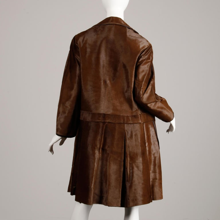 Black Stunning 1960s Vintage Pony Hair or Cowhide Brown Fur Coat with Leather Trim For Sale