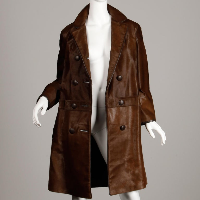 Women's or Men's Stunning 1960s Vintage Pony Hair or Cowhide Brown Fur Coat with Leather Trim For Sale