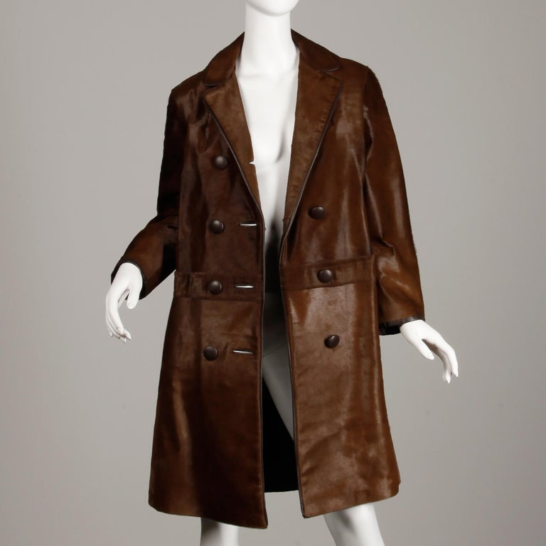 Stunning 1960s Vintage Pony Hair or Cowhide Brown Fur Coat with Leather Trim For Sale 2