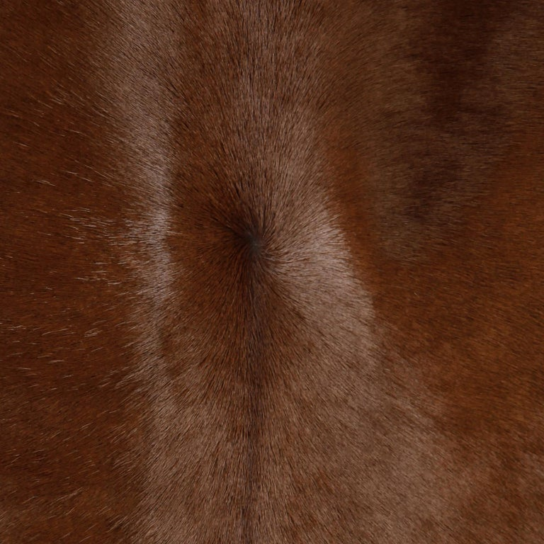 Stunning 1960s Vintage Pony Hair or Cowhide Brown Fur Coat with Leather Trim For Sale 3