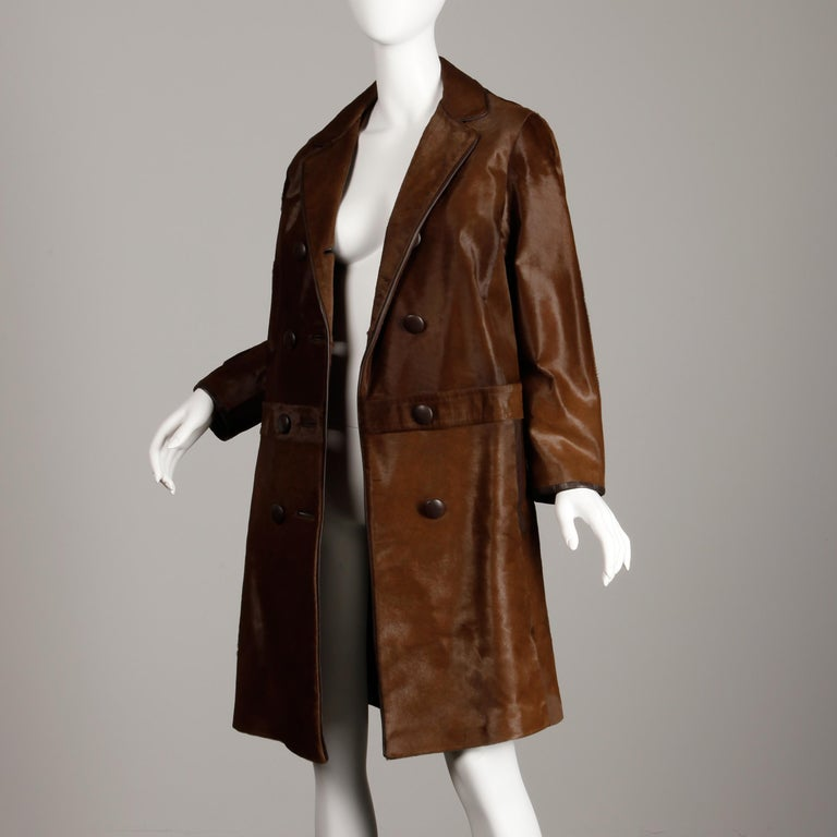 Stunning 1960s Vintage Pony Hair or Cowhide Brown Fur Coat with Leather Trim For Sale 4