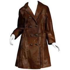 Stunning 1960s Vintage Pony Hair or Cowhide Brown Fur Coat with Leather Trim