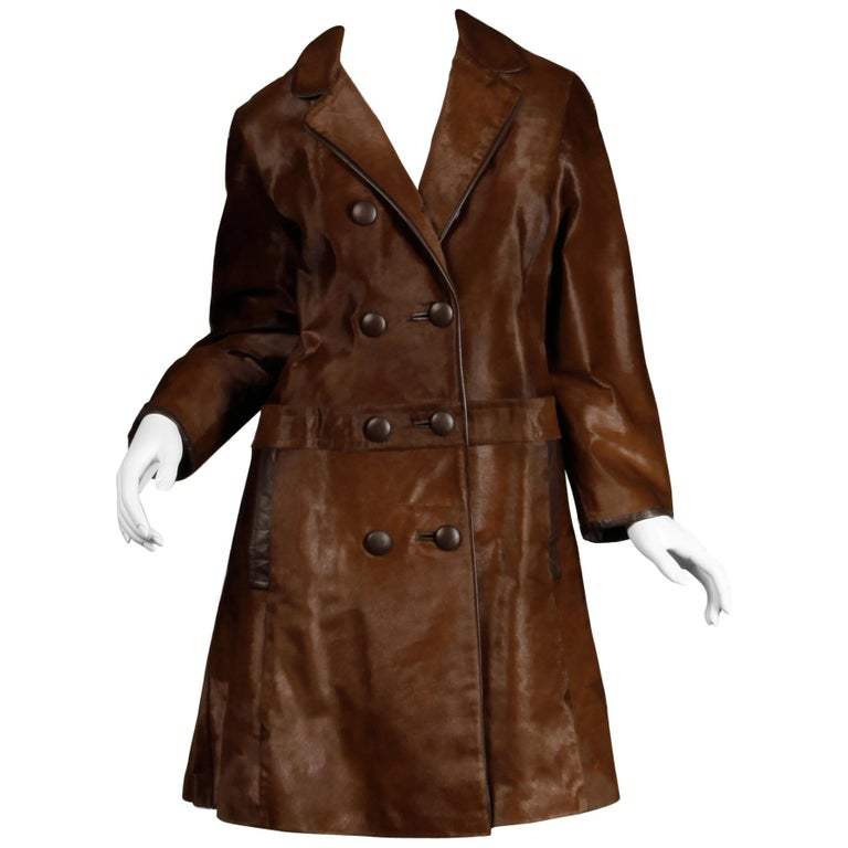 Stunning 1960s Vintage Pony Hair or Cowhide Brown Fur Coat with Leather Trim For Sale