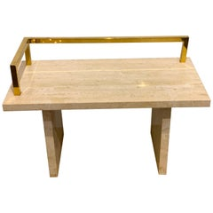 Stunning 1970s Brass and Travertine Monolithic Bench