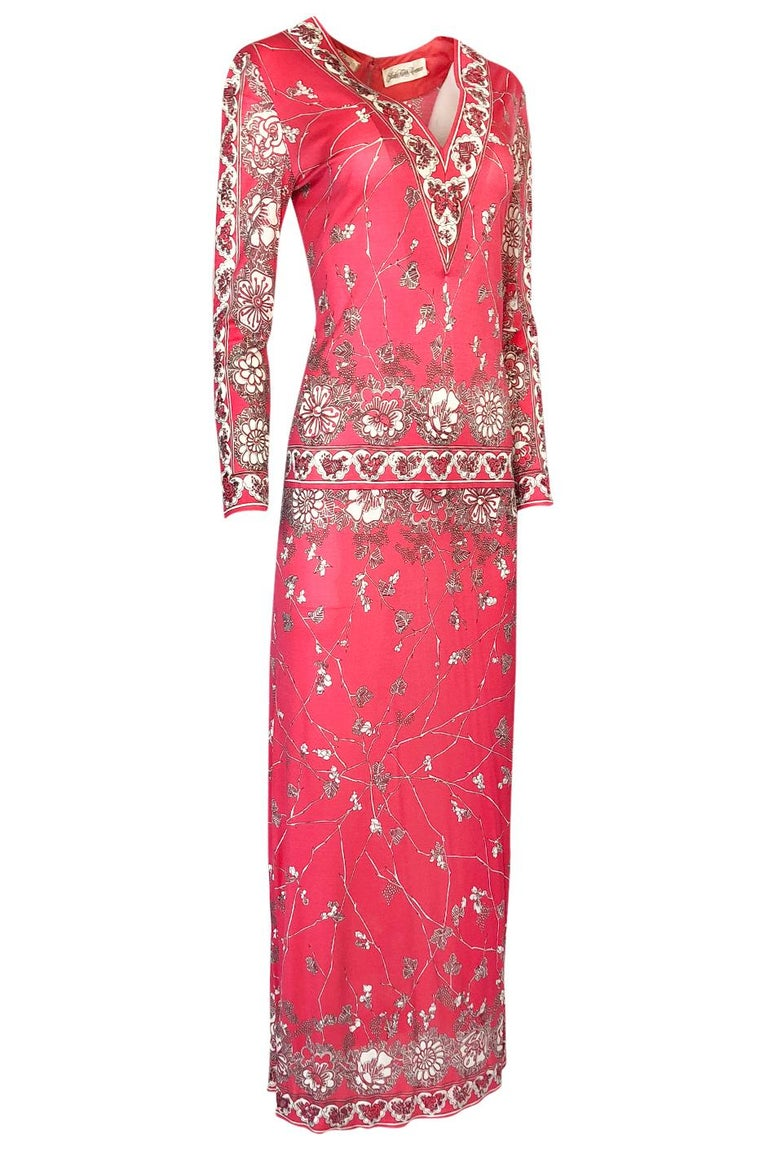 Stunning 1970s Emilio Pucci Pink Print Silk Jersey Maxi Dress In Excellent Condition For Sale In Rockwood, ON