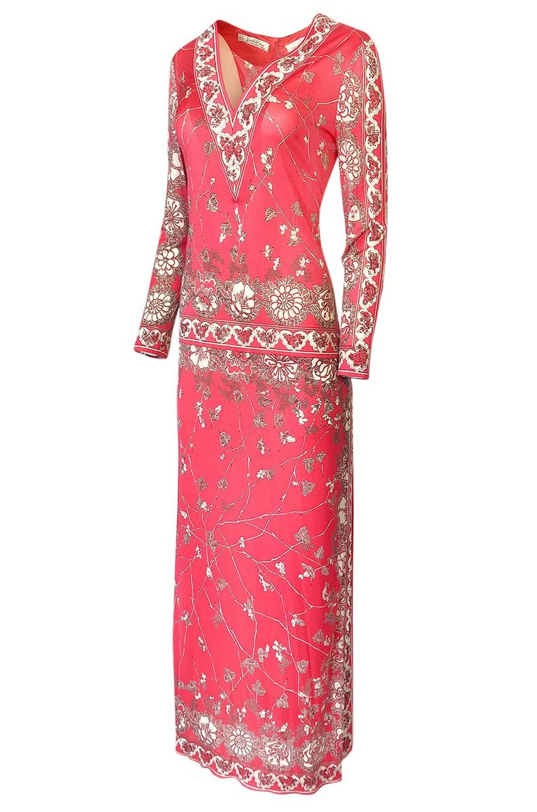 Women's Stunning 1970s Emilio Pucci Pink Print Silk Jersey Maxi Dress For Sale