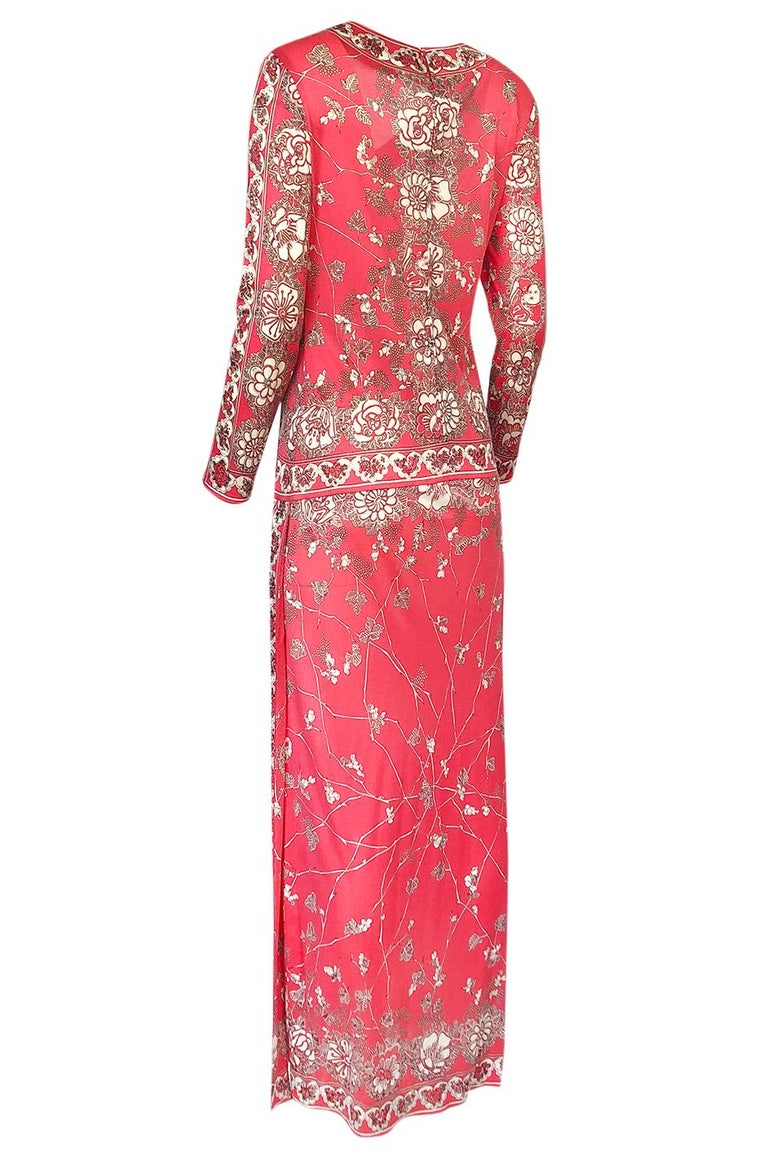 Stunning 1970s Emilio Pucci Pink Print Silk Jersey Maxi Dress For Sale 1