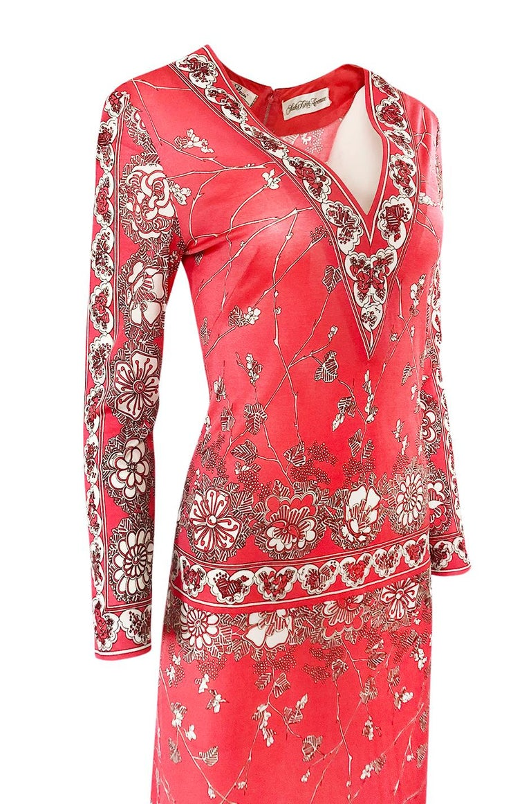 Stunning 1970s Emilio Pucci Pink Print Silk Jersey Maxi Dress For Sale 4