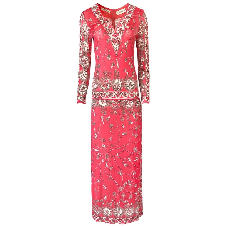 Stunning 1970s Emilio Pucci Pink Print Silk Jersey Maxi Dress For Sale