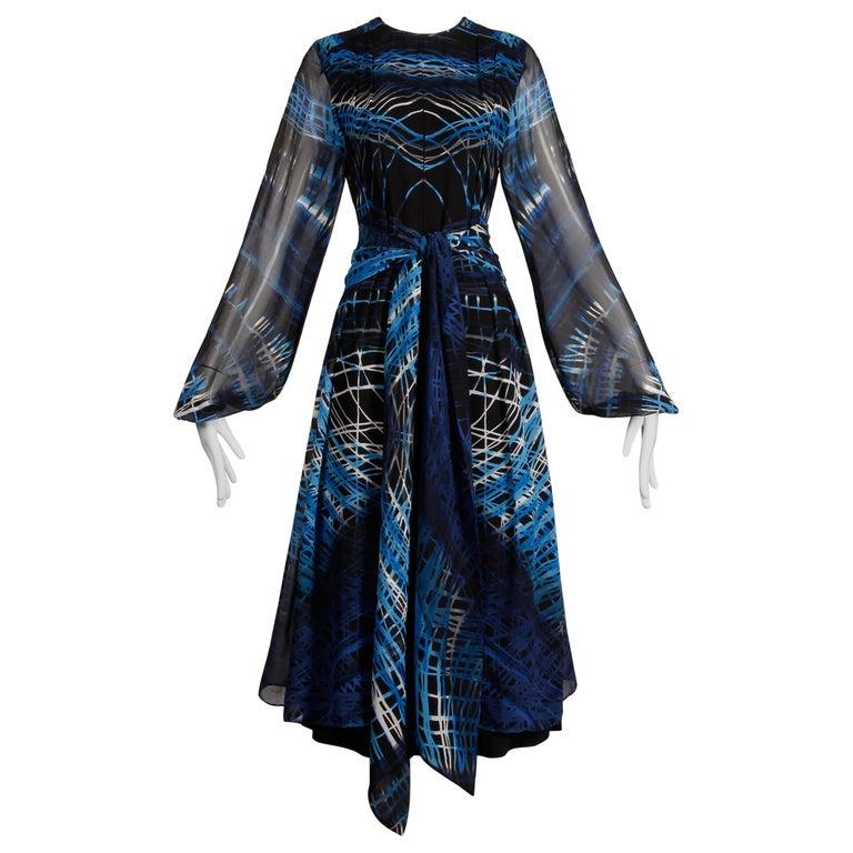 Stunning 1970s La Mendola Vintage Blue + Black Op Art Print Jersey Silk Dress For Sale