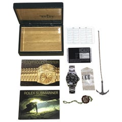 Stunning 1997 Rolex 14060 Submariner Wristwatch Box Lanyard Date Card Manuals
