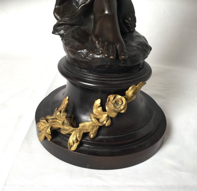 French Stunning 19th Century Art Nouveau Sculpture Woman with Flute by Eugene Marioton For Sale