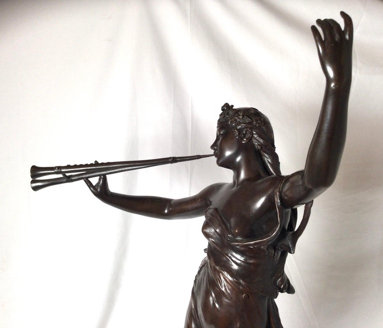 Stunning 19th Century Art Nouveau Sculpture Woman with Flute by Eugene Marioton In Excellent Condition For Sale In Lambertville, NJ