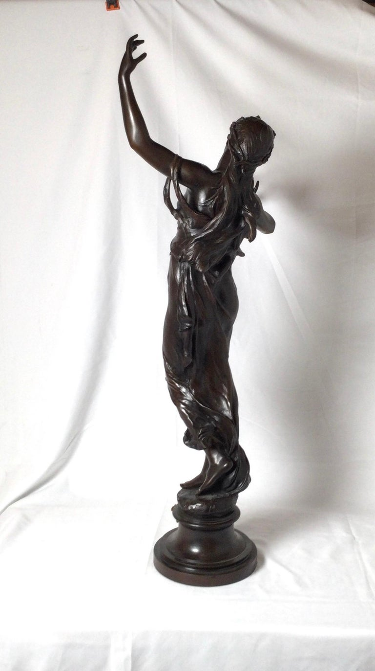 Late 19th Century Stunning 19th Century Art Nouveau Sculpture Woman with Flute by Eugene Marioton For Sale